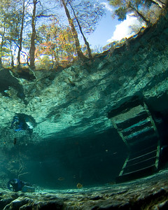 The steps at Little devil Spring lead to the water where cave divers embark on journeys into the planet.