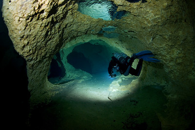 A diver swims through the passages at Peacock One at Peacock Springs State Park near Luraville, Florida.