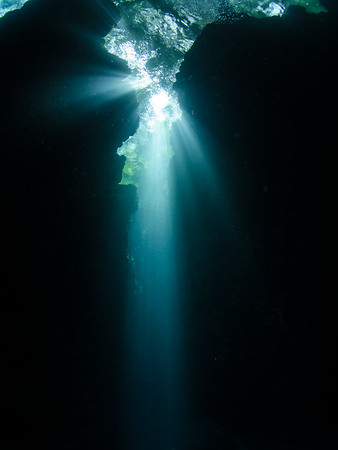 Light streaming in to Mbulo Caves, Russell Islands