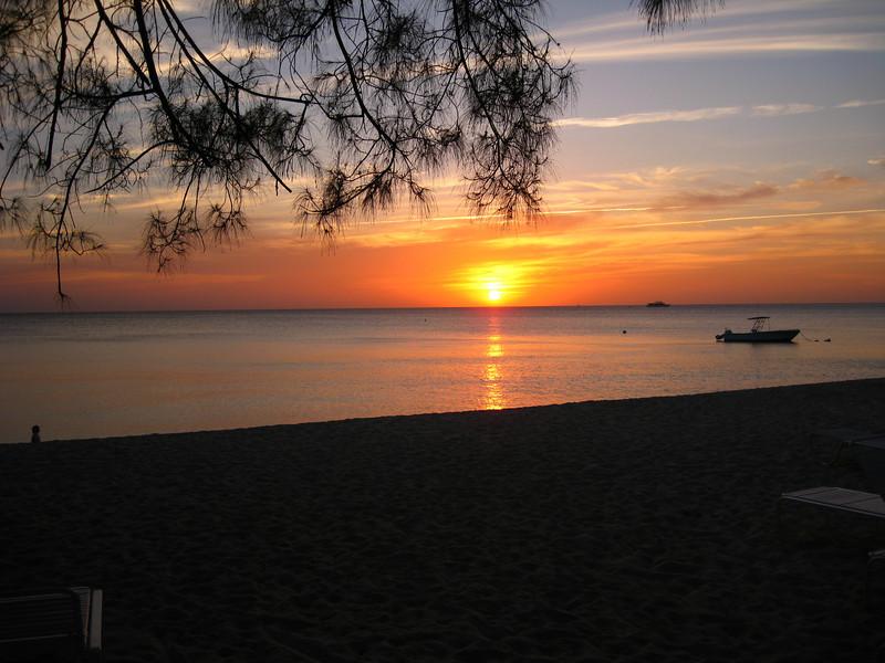 Sunset over 7-Mile Beach