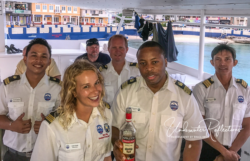 Our great crew: O'Neil, Aubrey, Justin, Chef Kingsley, and Rodale