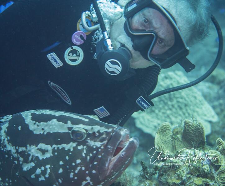 Luke and Nassau grouper ham it up for the camera