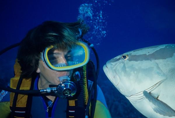 Cathy Church and a friendly Nassau Grouper
