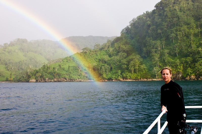 One afternoon we had a full rainbow.  Here's Jessica staring at a pot of gold.