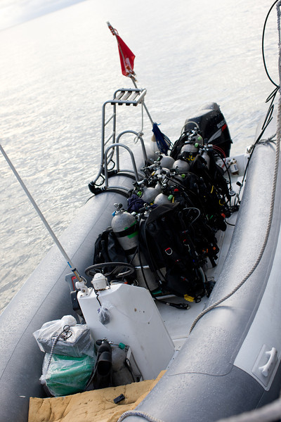 """We didn't dive off the back of the dive platform rather our equipment was moved to a """"panga"""" (a skiff or more literally a Zodiac hard bottom inflatable boat)."""