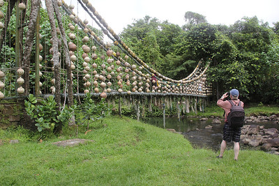 Recycled bridge, made of marine debris