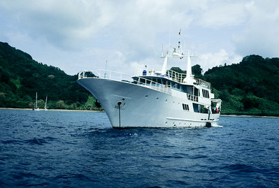 The Okeanos Aggressor rests at anchor off the coast of Cocos Island.