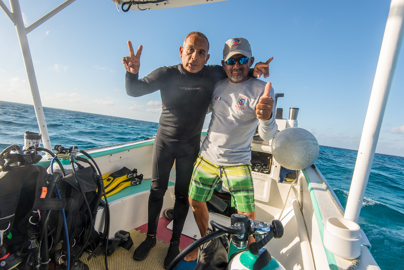 Divemaster Javier (left) and Capt. Hector (right) - Cozumel, Mexico - March 2016