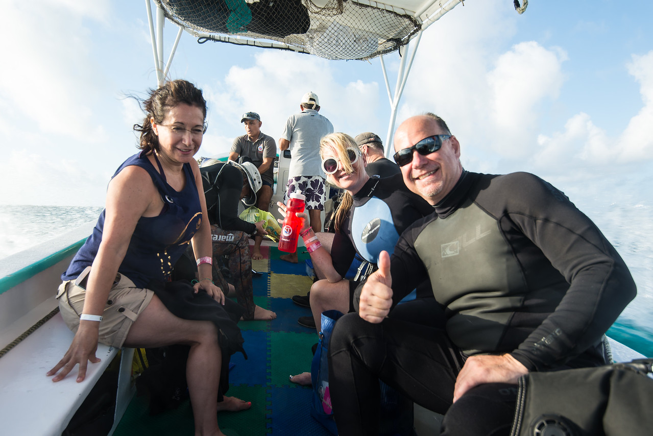 Renee (Left) and Leigh (Right) as we head toward Palancar Bricks dive site  - Cozumel, Mexico - March 2016