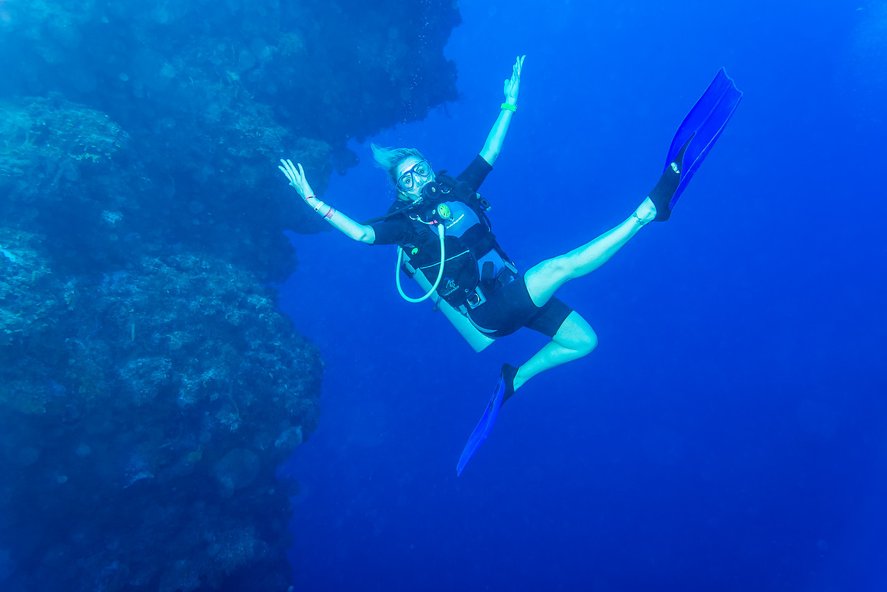 Leigh Koechner at Palancar Bricks dive site - Cozumel, Mexico - March 2016