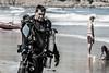 Andrew, founder of UTD (Unified Team Diving).  There's a stark contrast between the tech diver with a rebreather and bailout bottle and the beach goers in bathing suits.