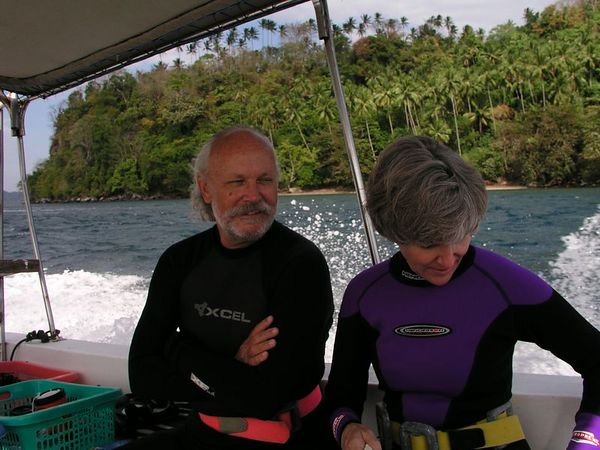 Jerry and Lori Kane<br /> on the way to the dive site<br /> Kungkungan, North Sulawesi