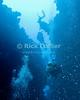 Red Sea, Dahab, Egypt.  Scuba divers descend through the reef into an underwater cave.  © Rick Collier<br /> <br /> <br /> <br /> <br /> <br /> scuba diver divers Egypt 'Red Sea' 'Ras Mohammed' Sharm 'Sharm el-Sheikh' 'Sharm al-Shaykh' Dahab underwater u/w blue coral reef silhouette