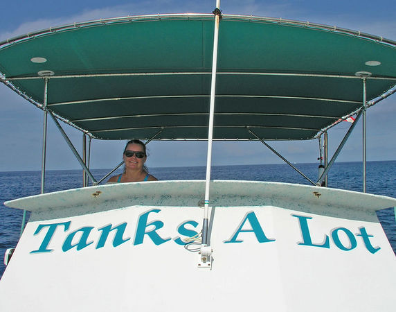 Sharon Williams on Tanks A Lot<br /> Taken by Dick Lundholm<br /> Kona Coast of the Big Island