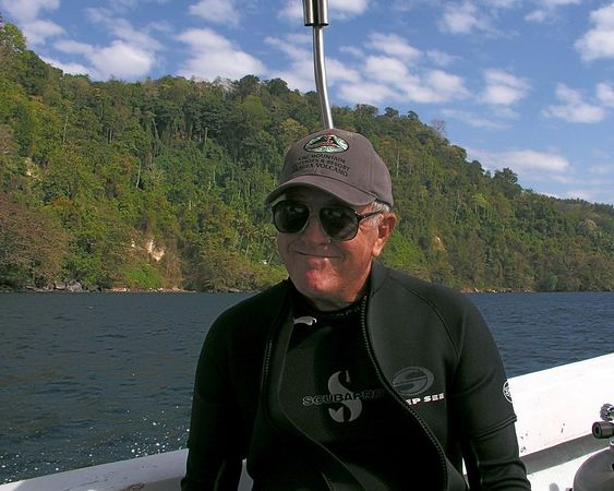 Bob Owens<br /> On our way to the dive site<br /> Kungkungan, North Sulawesi