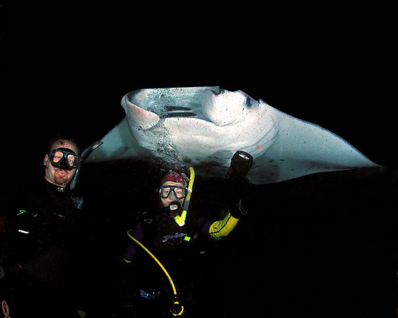 Seth and Carmen Degnan with one of the Manta Rays during a night dive off the Kona Coast of the Big Island.