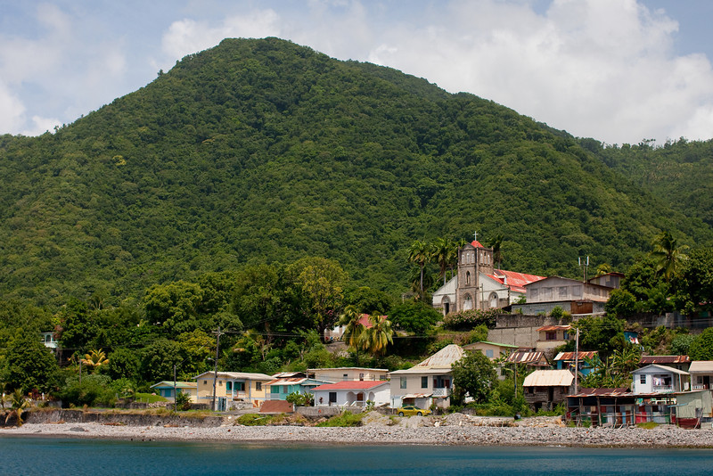 We were diving on the West and South aspects of the island.  From the water every village along the way had it's church.