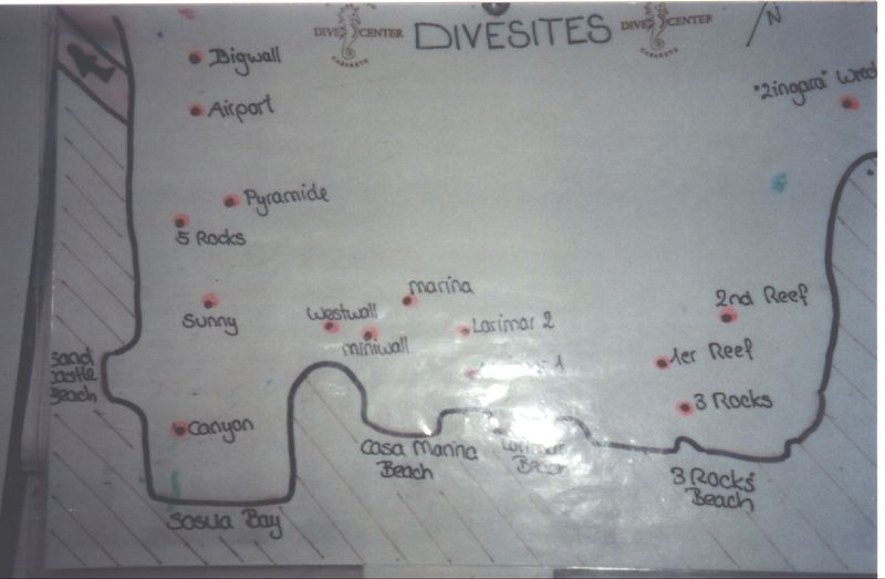 this is a map of the local divesites ..we dived miniwall, larimar etc