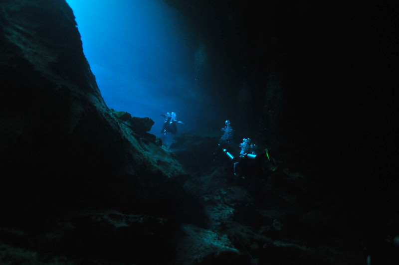 Navigating through El Eden Cenote - November 2012