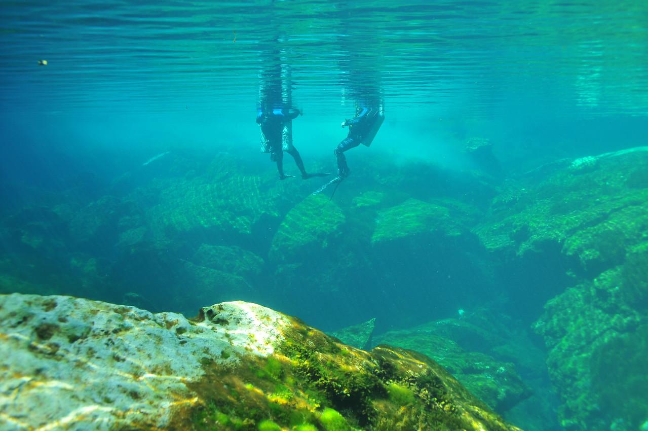 Cave divers preparing to dive - El Eden Cenote - November 2012