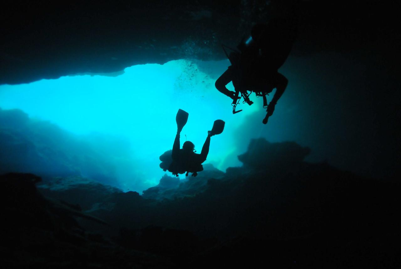 Exiting the cavern, El Eden Cenote - November 2012