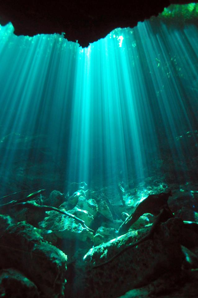 An amazing light show inside El Eden Cenote - November 2012