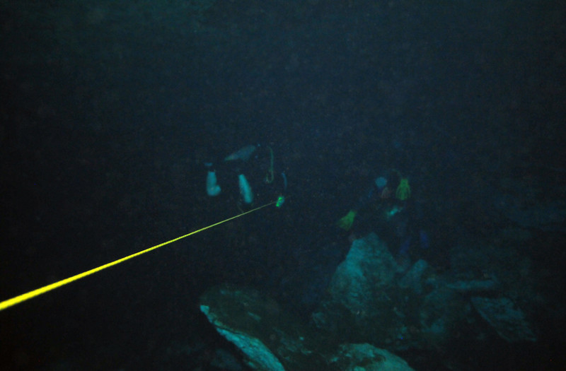 Following the safety line inside El Eden Cenote - November 2012
