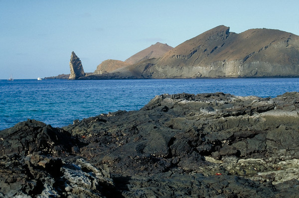 A view of Pinnacle Rock on Bartolome Island, Galapagos.