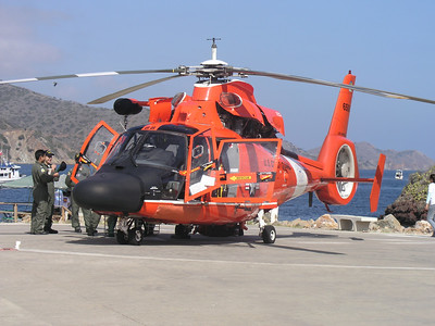 """Donna shelley """"May I never take a ride!"""" may 2nd, Chamber Day USC Wrigley Institute Coast Guard Rescue Helo Pilot, technician and rescue swimmers in background       Olympus C-5050z"""
