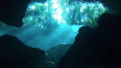 nick ambrose Taj Mahal Cenote from below Yucatan/Quintana Roo, Mexico May 2007 Still from FX1 camera