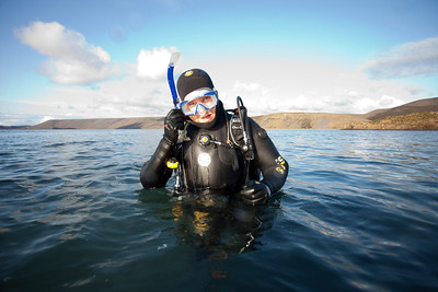 Hreggviður Ingason after a dive.