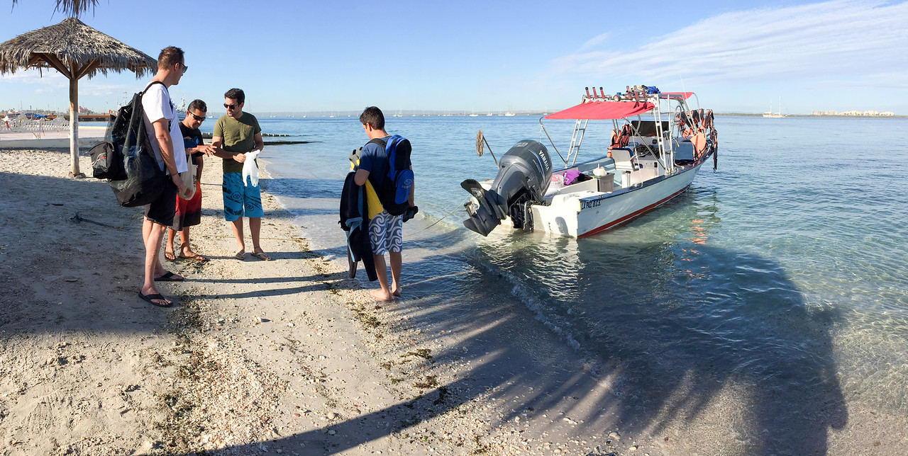 Briefing prior to snorkeling with Whale Sharks in La Paz, Mexico - January 2015