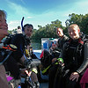 Dive Instructor Chuck (left) with student Laura (right), supervised by Aunt Connie (left) and Aquaman Rick (right).