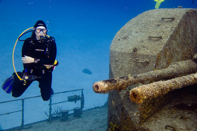 Serena Smith at the wreck of the Capt. Keith Tibbetts.