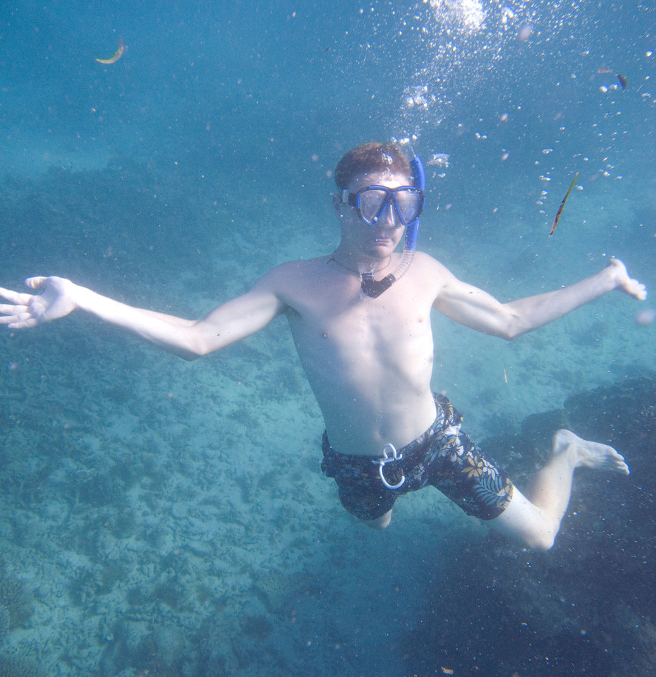 Andy (volunteer from UK) snorkeling.