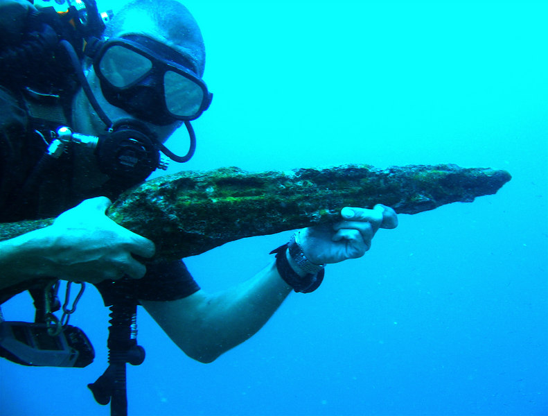 The remains of a rifle from the Helmet shipwreck.