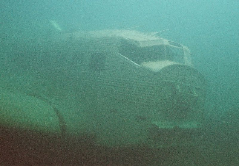 Junker 52. One of 11 that made an emergency landing on the ice on Lake Hartvikvann in a blizzard. Owing to shortage of fuel, only 2 (possibly 3) were able to take off. The remainder were strafed by the RAF and eventually sank when the ice broke up in the spring.