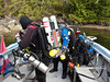 John dons his rebreather gear.  Hey, nobody said this sport was simple!
