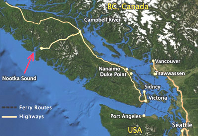 The village of Tahsis is located literally at the end of the road in Nootka Sound, and is about a 12-hour drive from Seattle.