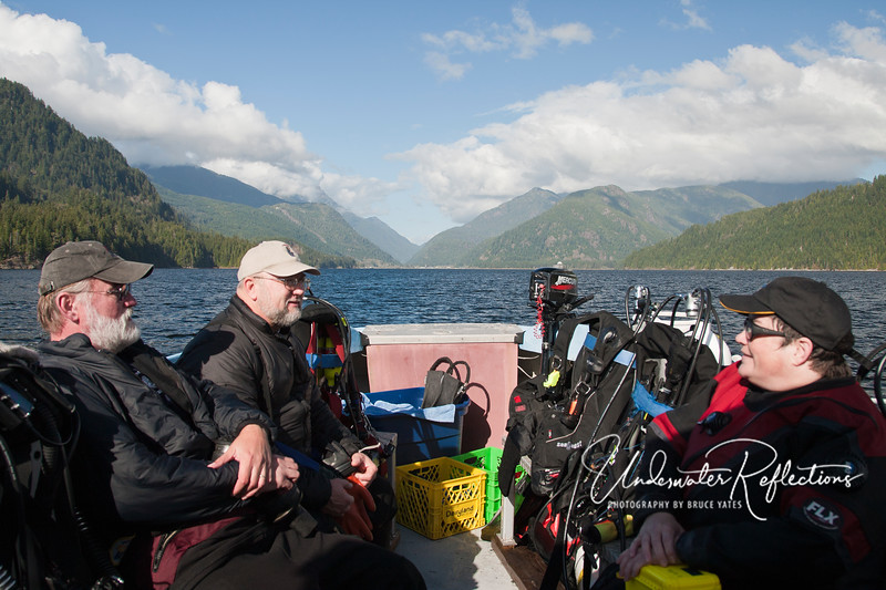 John, Bob and Valerie after another great dive in Nootka Sound as the boat makes its way back toward Tahsis.