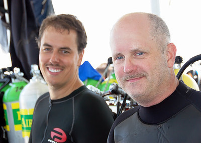 Russ Halvorsen and me prior to entering water for a deep dive off the coast of Moorehead City, NC - August 2008