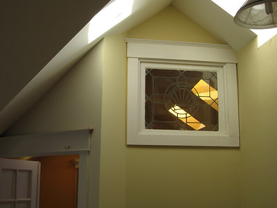 stained type window and skylights for master bedroom/living room.