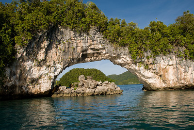 Natural Arch in the Rock Islands of Palau.
