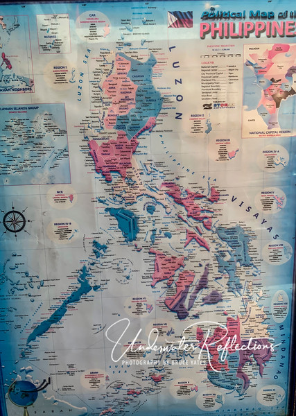 Map of Philippines - this trip all took place in the purple section 1/4 of the way up from the bottom....see next photo