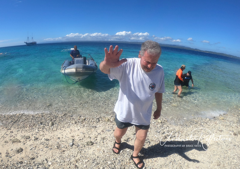 Luke fights off paparazzi (as he does everywhere we go) as he lands on a shore excursion.