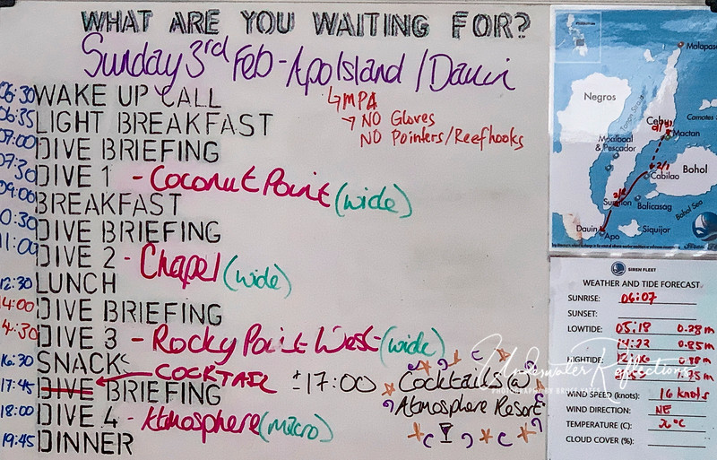 A typical day's schedule (although the normal 4th/night dive was replaced by the shore excursion to Atmosphere Resort).  Our 3 days with a first dive at Oslob (whale sharks) or Malapasqua with the thresher sharks began an hour earlier so that we could be in the water by 6AM.