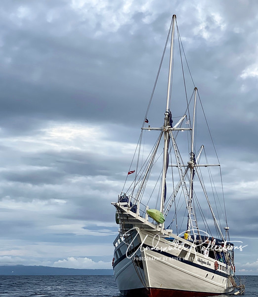The Philippine Siren with sails down.