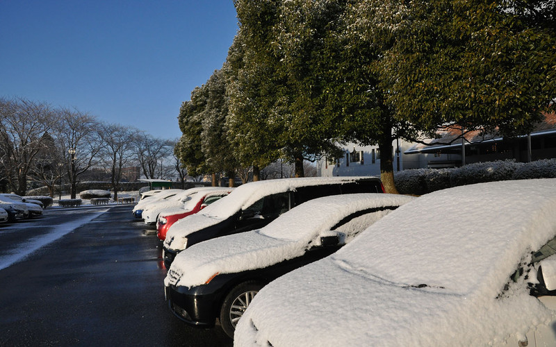 Three hour delay out of DC caused us to overnight in Tokyo, where it snowed on our tropical holiday...