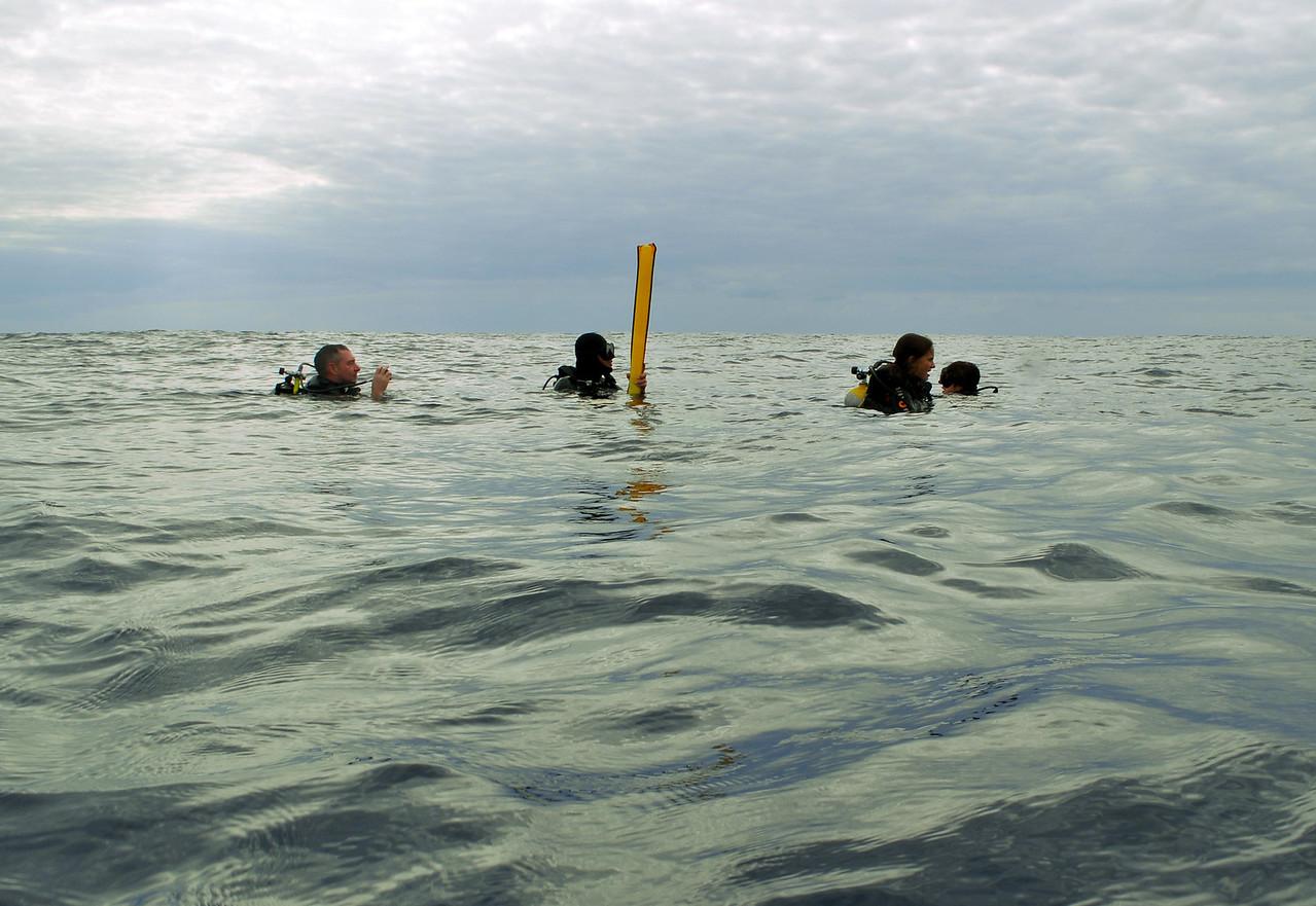 Enrique signaling for dive boat at end of dive - November 2012