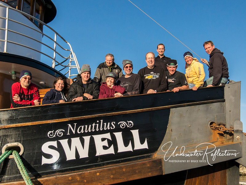 Our great group - (l to r): James, Marla, Darrell, Luke, Robin, Jim, me (Bruce), Jean Paul, Mike, Cheryl, and Corey.  The Nautilus Swell is an excellent dive boat - its bones are over 100 years old, but it has been totally rebuilt from stem to stern last decade, and is in very good shape.